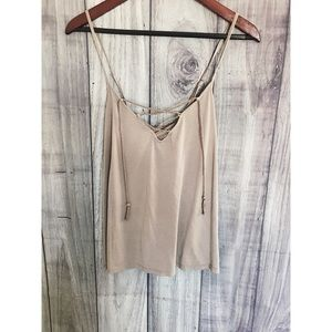 Abercrombie Stone Colored Lace Up Tank